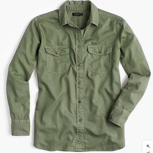 J. Crew Boyfriend Utility Shirt Green NWT